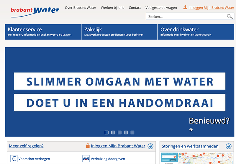 Brabant Water website portfolio Modern Minds