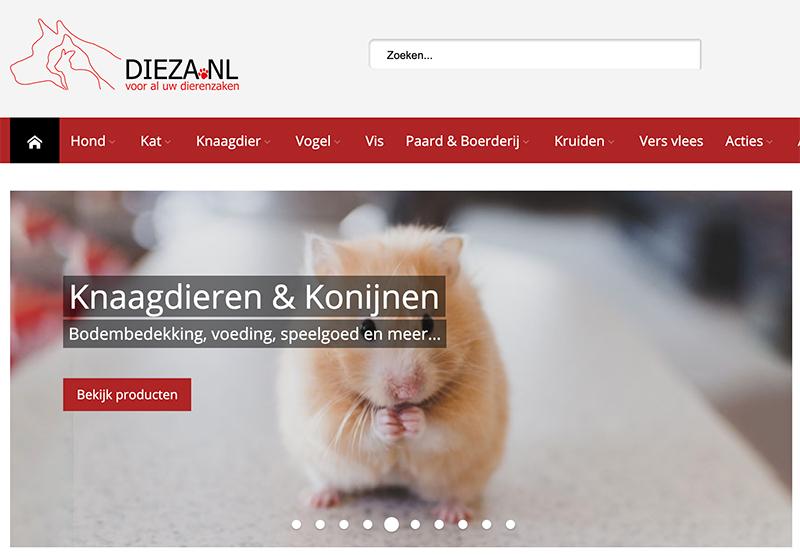 Dieza dierenspeciaalzaak website bouwen Modern Minds