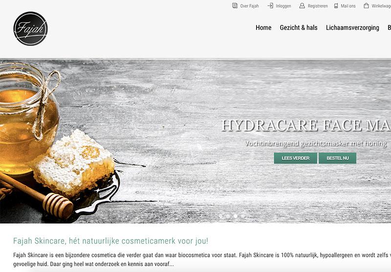Fajah Lourens skincare website optimalisatie door Modern Minds
